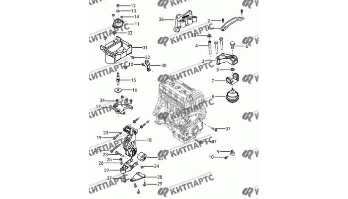 Подвеска двигателя с АКПП S30 (E-Teco) Dong Feng S30