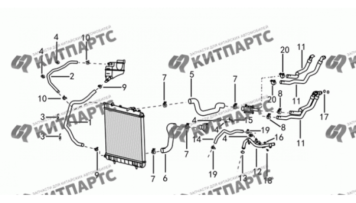 Трубки и шланги системы охлаждения Dong Feng S30