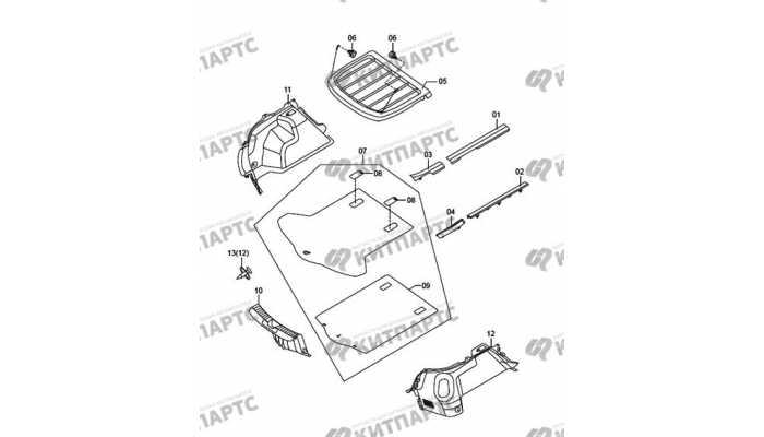Накладки багажника внутренние FAW Oley