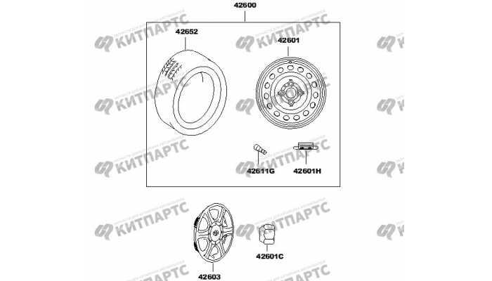 Колесо и колпак колеса (штампованный диск) FAW V2