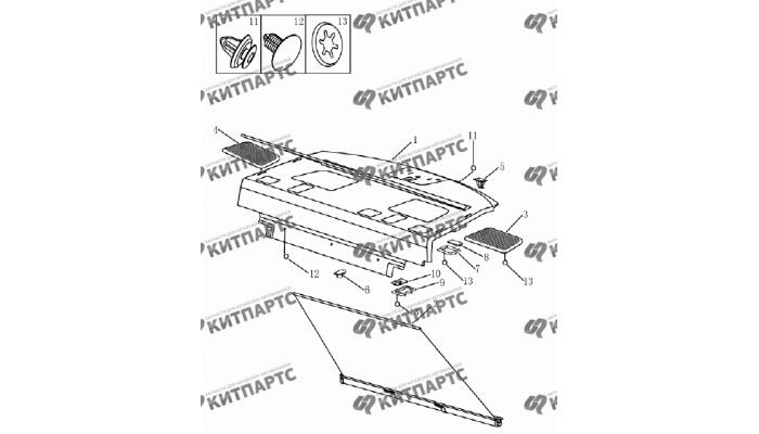Панель багажника (седан) Geely Emgrand (EC7)