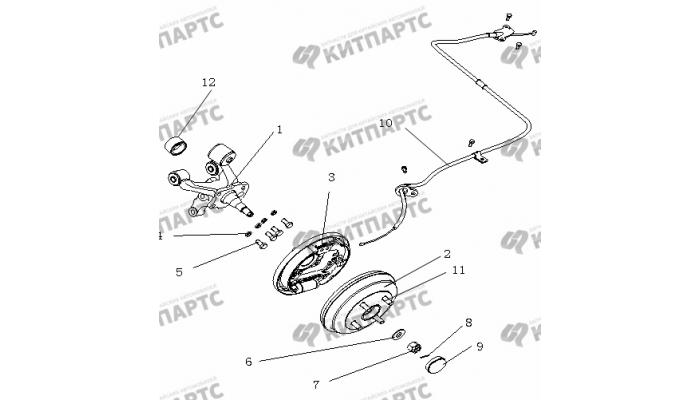 Тормоз задний правый (Барабанный, без ABS) Geely Otaka (CK)